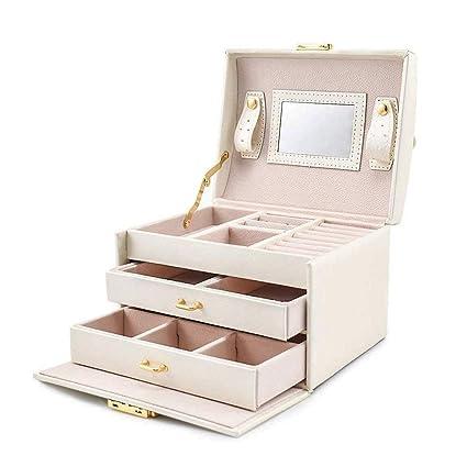 a16b98fcb Tres capas Joyero Organizador - PU Viajar almacenamiento de joyería, caja  de la joyería blanco con el ...