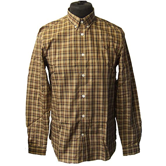 1cb605abd Fred Perry M5523 Twill Checked Shirt Bronze Size M  Amazon.co.uk  Clothing