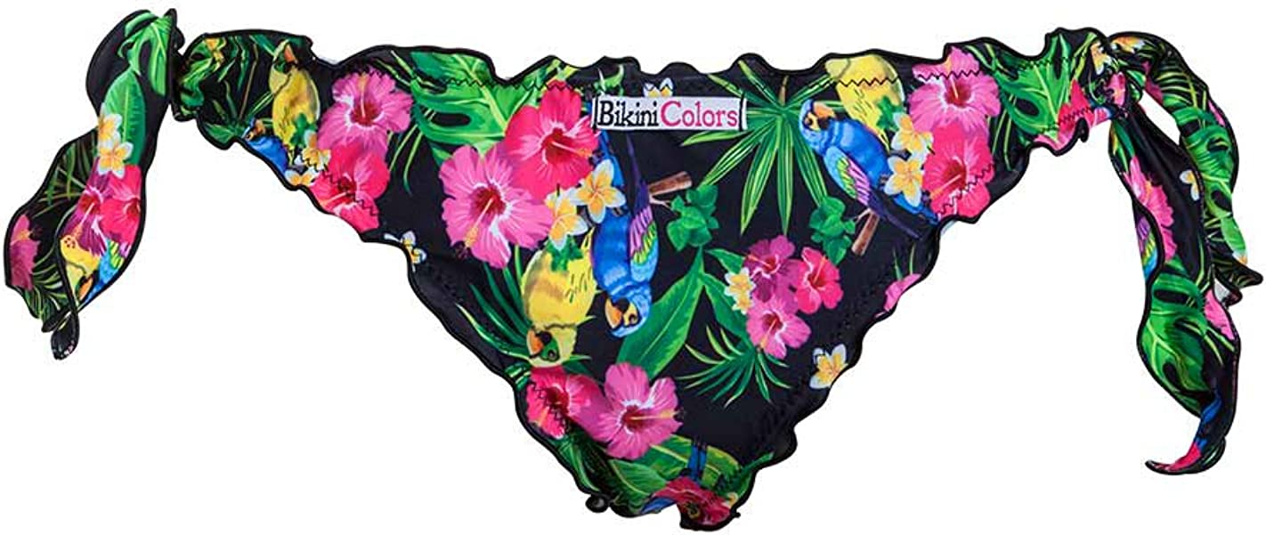 Bikinicolors Bikini Savana pappagalli Donna a Fascia Arricciato con Slip o Brasiliana Made in Italy Fondo Nero