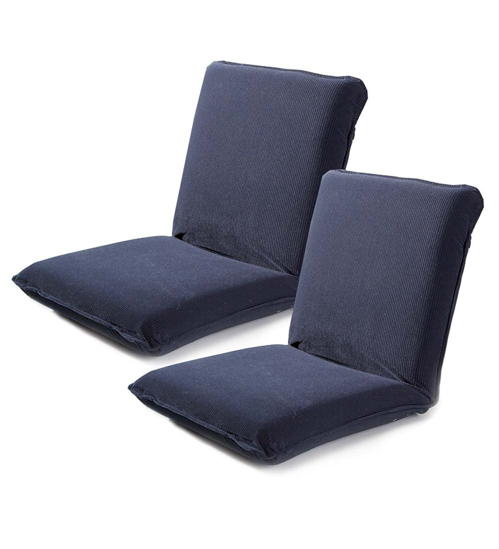Multiangle Floor Chairs with Adjustable Back, Set of 2 - Navy