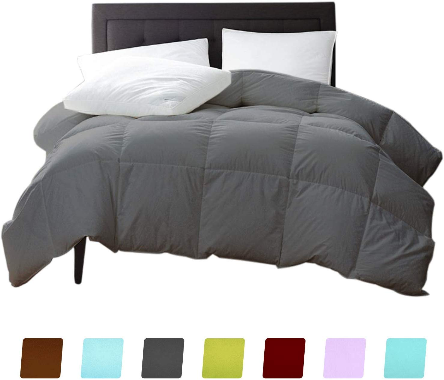 New York Mercado 100% Egyptian Cotton Comforter Luxury and Premium Quality Quilted with Corner Tabs 500 GSM 1000 TC All Season Warm Fluffy Ultra-Soft Comforter King/Cal-King, Silver Grey by New York Mercado