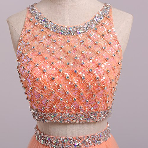 SeasonMall Women's Prom Dress Two Pieces Bateau Beaded Bodice Tulle Dresses Size 6 US Orange by SeasonMall (Image #5)
