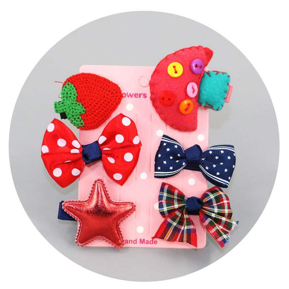 6Pcs set Kids Infant Baby Girl Hair Clip Bow Flower Cartoon Hairclip Hairpin