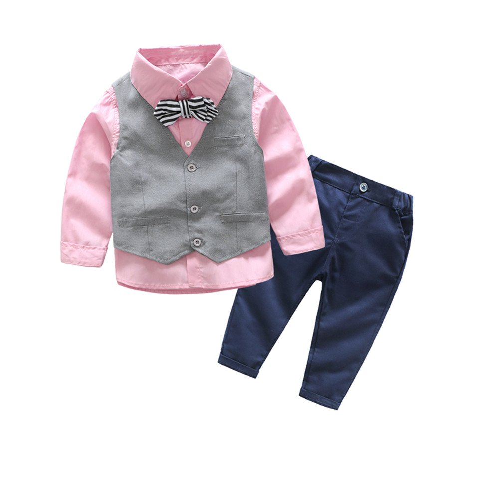 xirubaby Little Boys Dressy Formal Vest Shirt Pant and Bow Tie Set Outfit (100/2T, Pink)