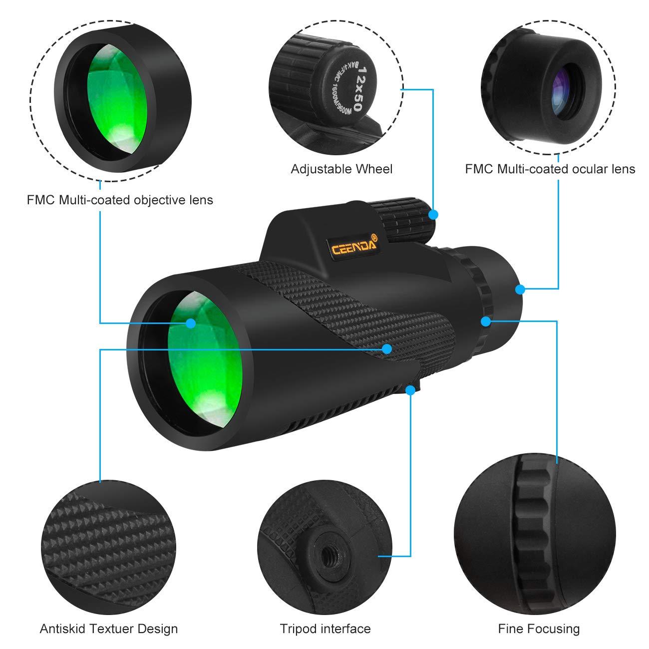 Amazon.com: Ceenda Monocular Telescope,12x50 HD BAK4 Prism ...