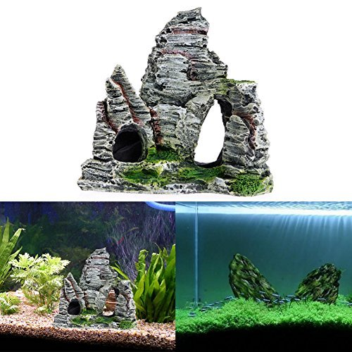 Image of Delight eShop Aquarium Fish Tank Ornament Rockery Hiding Cave Landscape Decor Underwater Decor