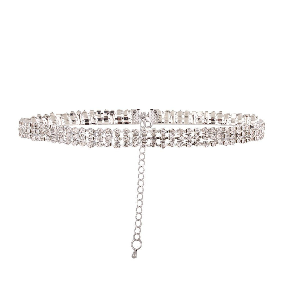 Kissweet Chunky Women Rhinestone Choker Necklace 3 Row Silver Bling Crystal Statement Collar Chain for Wedding Bridal Dancer (Silver)