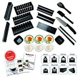 Complete 15 Piece Sushi Making Kit by KitchenBoosterz - Molds for 8 Different Shapes, 1 Knife, 1 Spatula, 1 Serving Fork, 2 Sets of Chopsticks, 2 Sauce Dishes, & Step-by-Step Instruction Book!