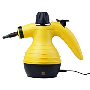 SteamClean Handheld Pressurized Cleaner 350 Milliliter Water Tank Capacity 9 Pieces Accessory Set Multipurpose Multisurface All Natural Chemical Steam Cleaning Home Auto Patio, Yellow