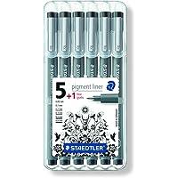 Staedtler 308 SB6P1 fineliner pigment liner set met 6 lijnbreedtes, hoge kwaliteit, pigmentinkt, onuitwisbaar…