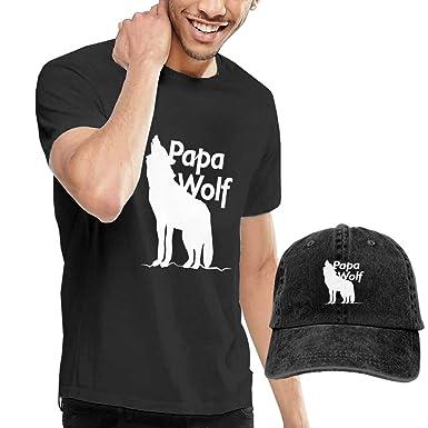 Amazon.com  Papa Wolf T Shirt Short Sleeve Denim Hat Male  Clothing 96525eacab23