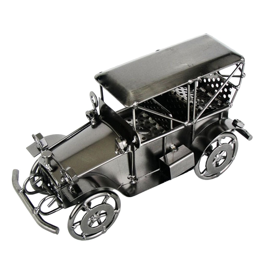 Clispeed Modellini Auto Vintage Auto d'epoca in Ferro Decorazione per Tavolo (grigio)
