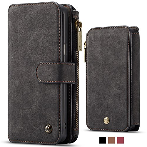 For Samsung Galaxy S10 + Leather Magnetic Phone Case Wallet Detachable Protective Flip Cover with Card Holder, Dark - Case Leather Wallet Fire Phone