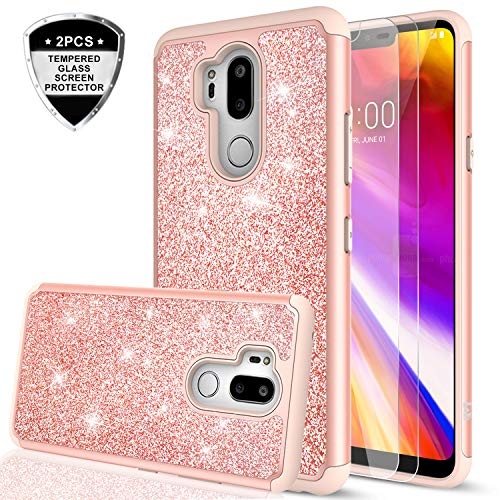 LG G7 ThinQ Case, LG G7 Glitter Case with Tempered Glass Screen Protector [2 Pack] for Girls Women,LeYi Sparkly Bling Dual Layer Hybrid Shockproof Protective Phone Case for LG G7 ThinQ TP Rose Gold