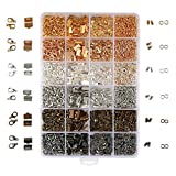 OPount 24 Style 2460 Pcs/ Box Jewelry Making Kit 6 Colors with Open Jump Rings, Lobster Clasps, Cord Ends and Ribbon Ends