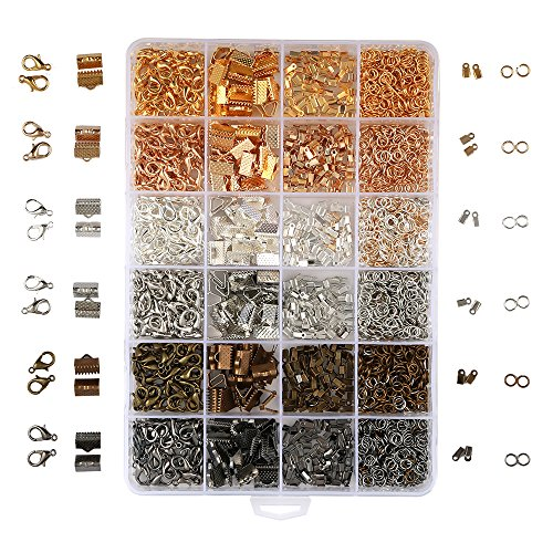 OPount 24 Style 2460 Pcs/Box Jewelry Making Kit 6 Colors with Open Jump Rings, Lobster Clasps, Cord Ends and Ribbon - Maker Jewelry Supplies