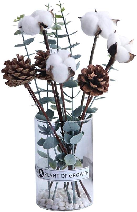 Eucalipto Ramo de Flores secas algodón jarrón de Vidrio de piña ...