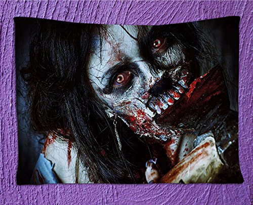 SeptSonne Zombie Decor Tapestry by, Scary Dead Woman with Bloody Axe Evil Fantasy Gothic Mystery Halloween Picture,Wall Hanging for Bedroom Living Room Dorm,82.7Wx59.1L (Fantasia Halloween Sp)