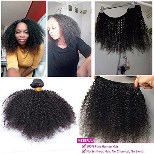 """Search : Youth Beuaty 18"""" Mongolian Afro Kinky Curly Hair Extensions 100gram 1 bundle 4B 4C Afro Kinky Curly Virgin Human Hair weave Natural Black For African American Black Women"""