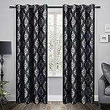 Exclusive Home Curtains Damask Cotton Grommet Top Window Curtain Panel Pair, Indigo, 54x84