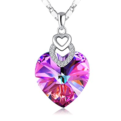 5e32f5a2d PLATO H Heart Necklace Love Heart Necklace with Swarovski Crystal, Purple/Blue  Crystal Birthstone Necklace, Mother's Day Jewelry Gifts for Women, ...