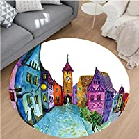 Nalahome Modern Flannel Microfiber Non-Slip Machine Washable Round Area Rug-or European Scenery with Pastel Colored House Lights and Road and Church Image Multicolor area rugs Home Decor-Round 43