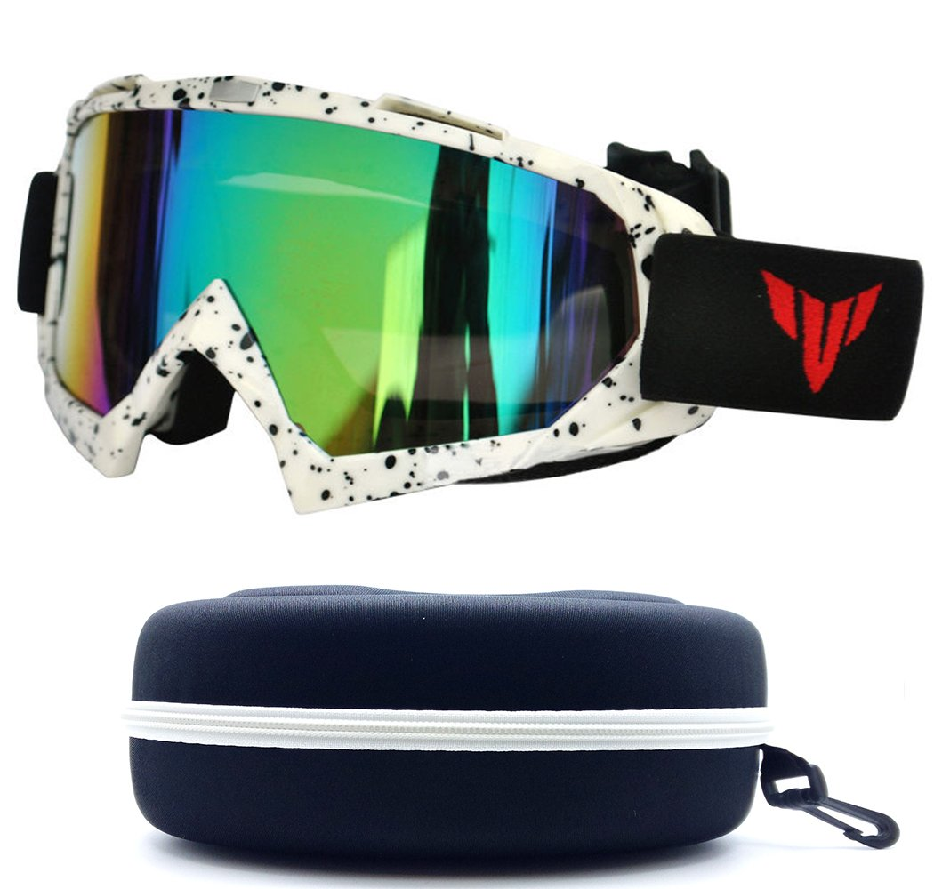 (#Ski goggle Wht) White Men & Women Unisex Mirrored Lenses Motorcross Scratch Dirt Bike Resistant Off Road Goggles Outdoor Sport Head Eye Protection Goggles