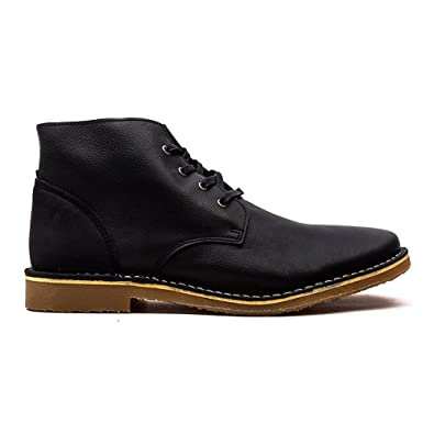 Jack   Jones JJ Gene Mens Leather Desert Boots Black UK 12  Amazon ... 2ac430166