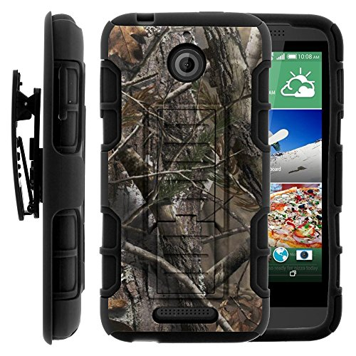 HTC Desire 510 Case, HTC Desire 510 Holster, High Impact Advanced Double Layered Hard Cover with Built in Kickstand and Belt Clip for HTC Desire 510 (Sprint, Cricket, Boost Mobile, Virgin Mobile) from MINITURTLE | Includes Screen Protector - Tree Bark Hunter Camouflage