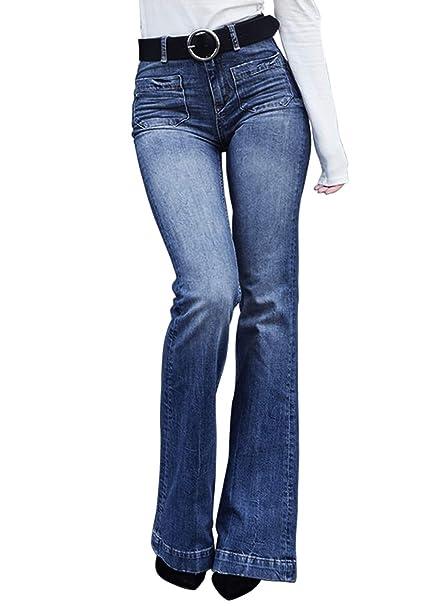 2d0d7a7c8770f Aleumdr Mujer Pantalones Acampanados Vaqueros Cintura Alta Jeans de Mujer  Size S-XXL  Amazon.es  Ropa y accesorios