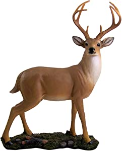 Wowser Indoor Cast Resin Whitetail Deer Buck Hunting Cabin Lodge Wildlife Statue with Removable Antlers, 15 Inch