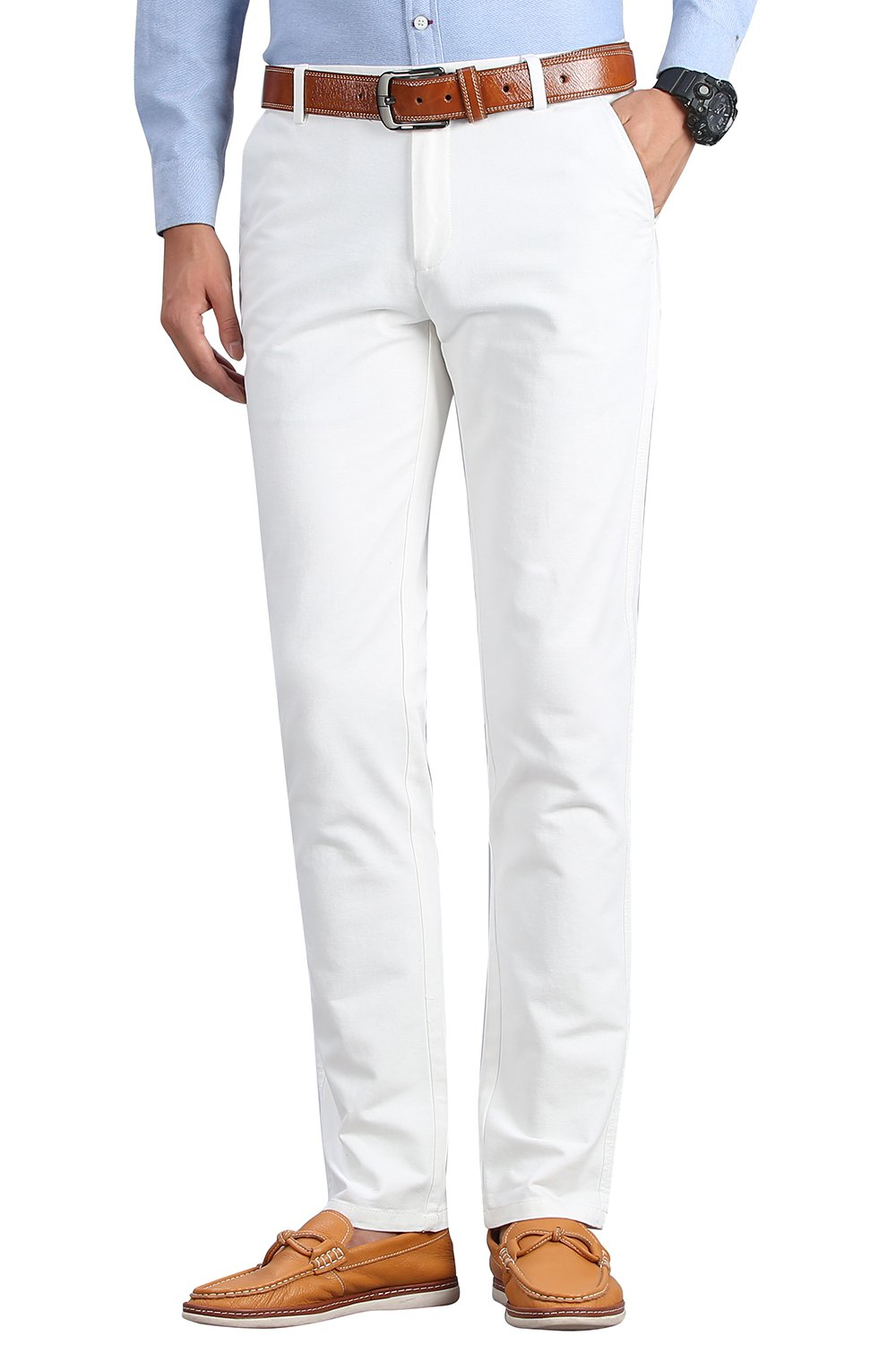 INFLATION Men's Stretchy Slim Fit Casual Pants,100% Cotton Flat Front Trousers Dress Pants for Men,White Pants Size 32