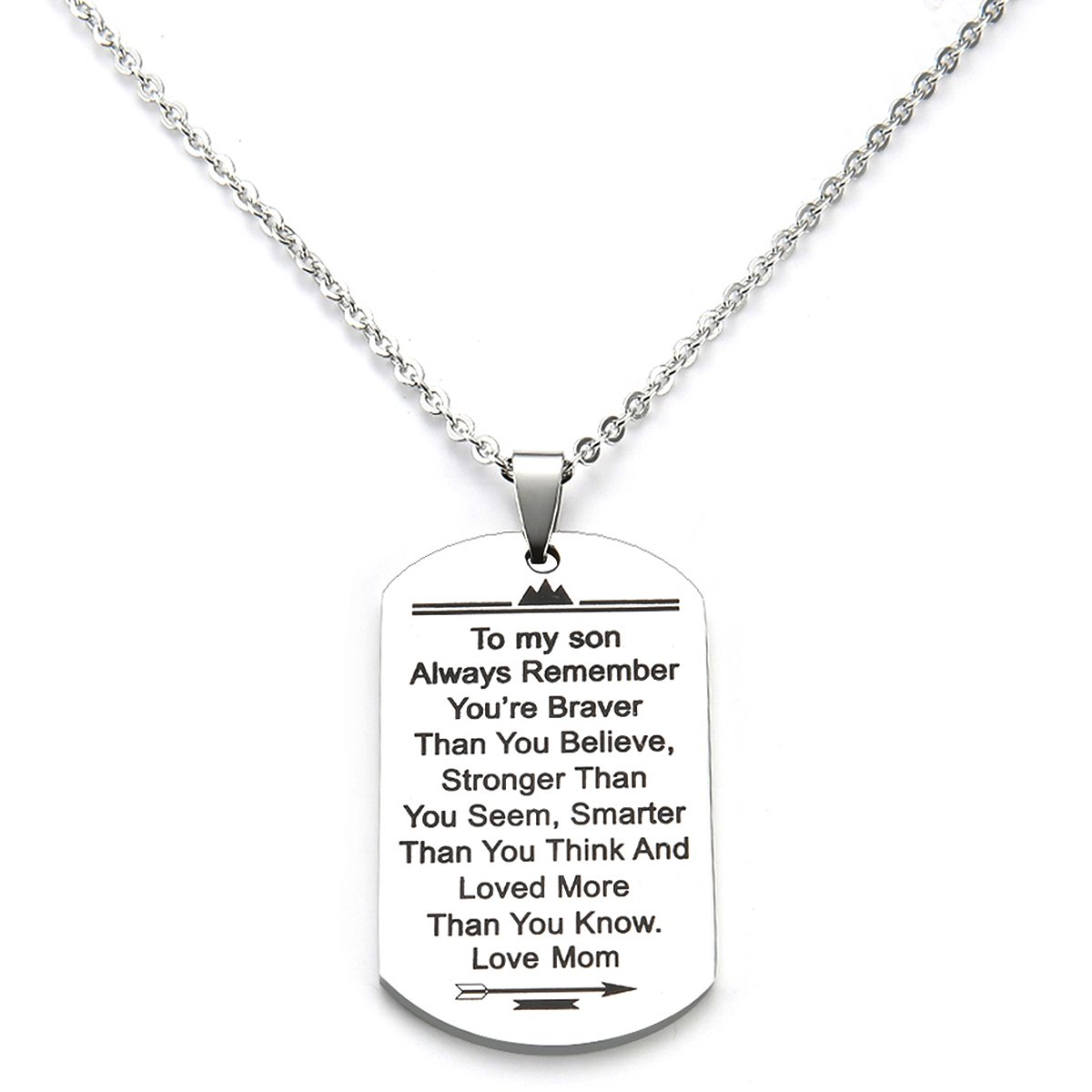 Stainless Steel Dog Tag Letters ''To my son....love mom'' Pendant Necklace,Inspirational Gifts For Son Jewelry