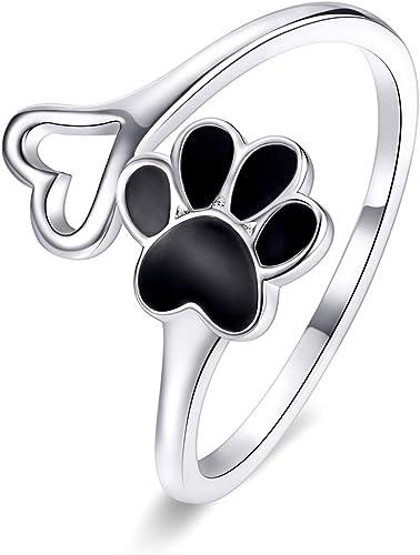 fiesta Anillo de plata de ley 925 con huellas de gato y perro ajustable para mujer joyer/ía de plata