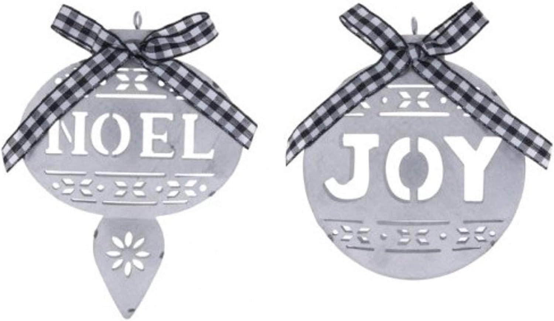Noel & Joy Galvanized Metal Christmas Ornaments Bundle with Black & White Buffalo Check Ribbons, Primitive Farmhouse Cottage Decor (Set of 2)