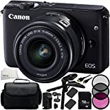 Canon EOS M10 Mirrorless Digital Camera with EF-M 15-45mm f/3.5-6.3 IS STM Lens (Black) 10PC Accessory Kit - Includes 16GB Memory Card + MORE - International Version (No Warranty)