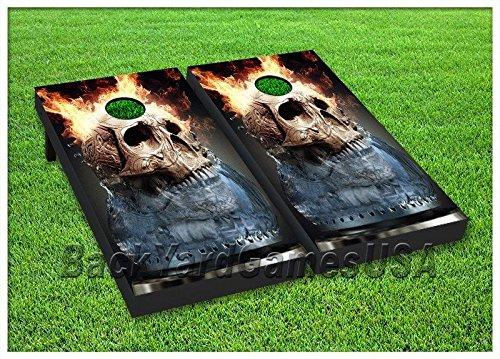 Cornhole Beanbag Toss Game Flaming Skull Wバッグ木製セット134