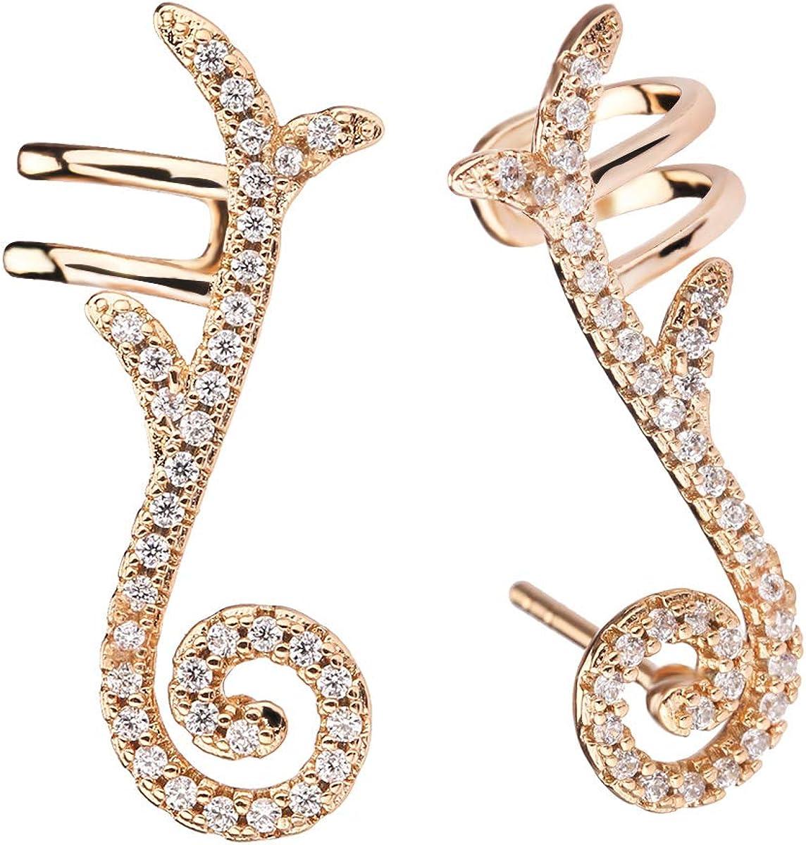 Gold Ear Cuff Earrings - CZ...