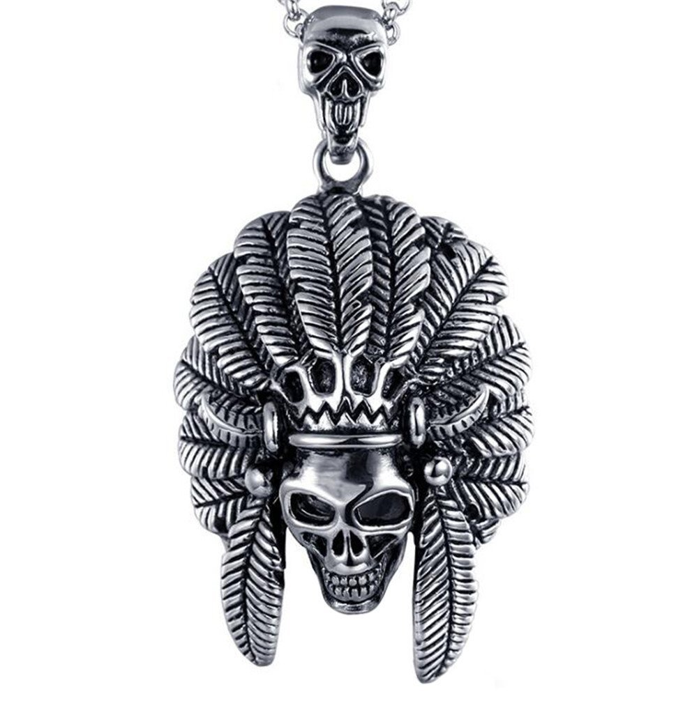 Men's Stainless Steel Native American Indian Chief Skull Pendant Necklace Tribal Style