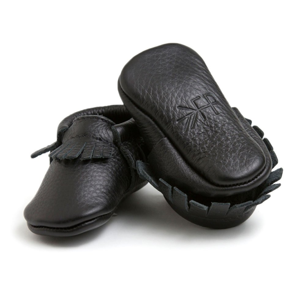 Freshly Picked Soft Sole Leather Baby Moccasins - Ebony - Size 5