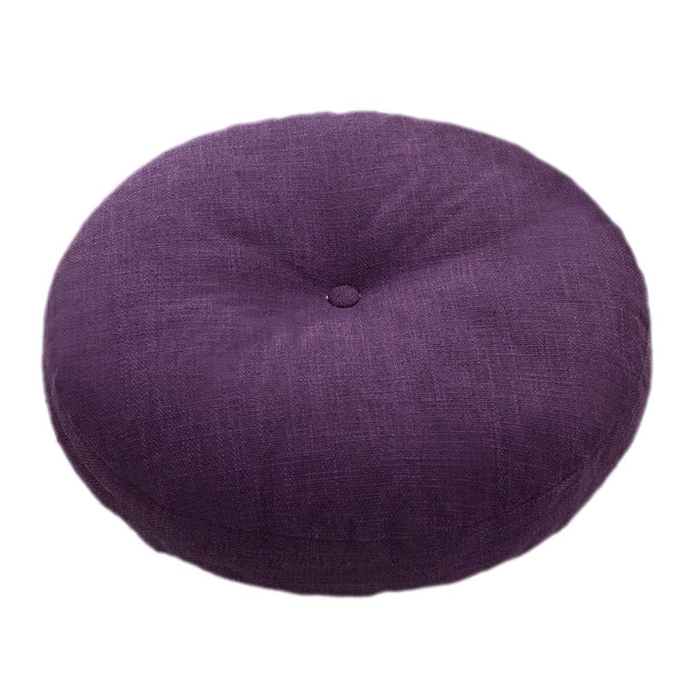 Aowufan Solid Color Linen Round Floor Pillow Cushion Yoga Seat Meditation Cushion Balcony Window Tatami Floor Cushion (Dark Purple, S)