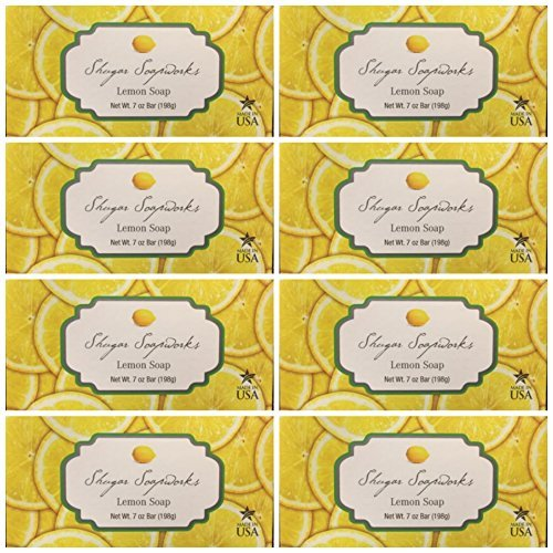 Cheap Lot of 8 Shugar Soapworks Large Bars 7 oz Lemon Vegan, No Dyes, No Parabens