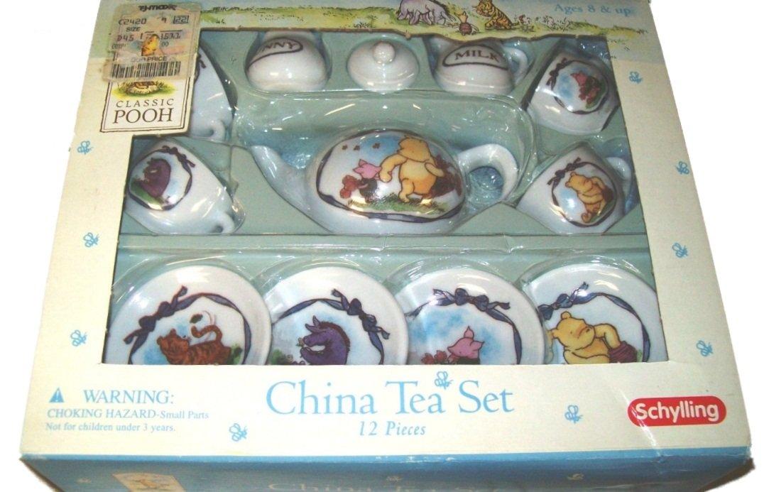 Schylling China Tea set - Classic Pooh Motif - 12 pieces - NEW