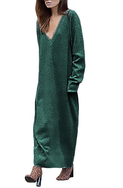 HaiDean Mujer Vestidos De Punto Otoño Invierno Vestido Largos Elegantes Manga Larga Modernas Casual V Cuello