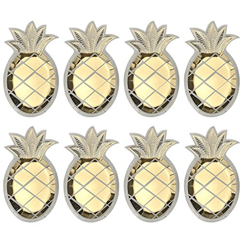 MUMULULU 24 PCS Gold Stamping Pineapple Disposable Paper Plates Tableware for Birthday Wedding Barbecue Wine Party and Hawaiian Luau Party Supplies]()