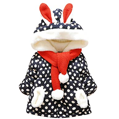 b45fed69d7ae Amazon.com  Baby Girl Hoodie Fleece Jacket Thick Winter Rabbit Bunny ...