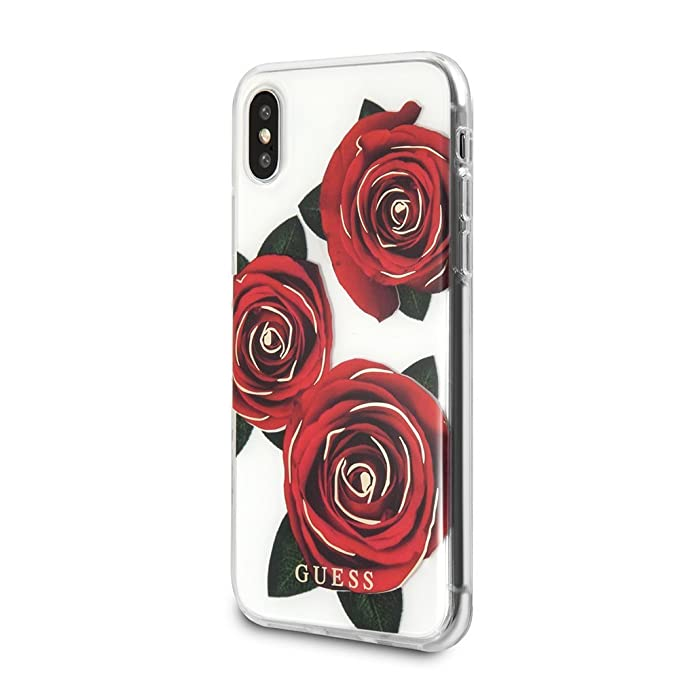 new products f21da 12829 Guess iPhone X & iPhone Xs Case - by CG Mobile - Rose Pattern/Transparent  Hard Cell Phone Case |Easily Accessible Ports | Officially Licensed.