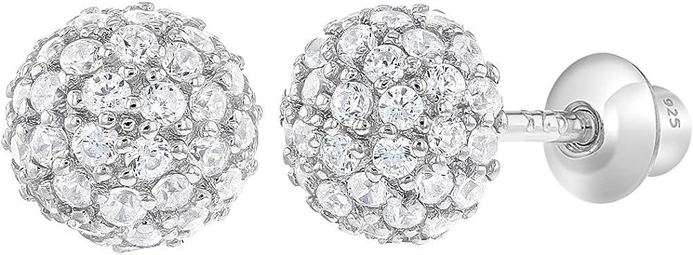 Pendientes de tuerca de plata de ley 925 con forma de bola de fuego para niñas y adolescentes, 6 mm