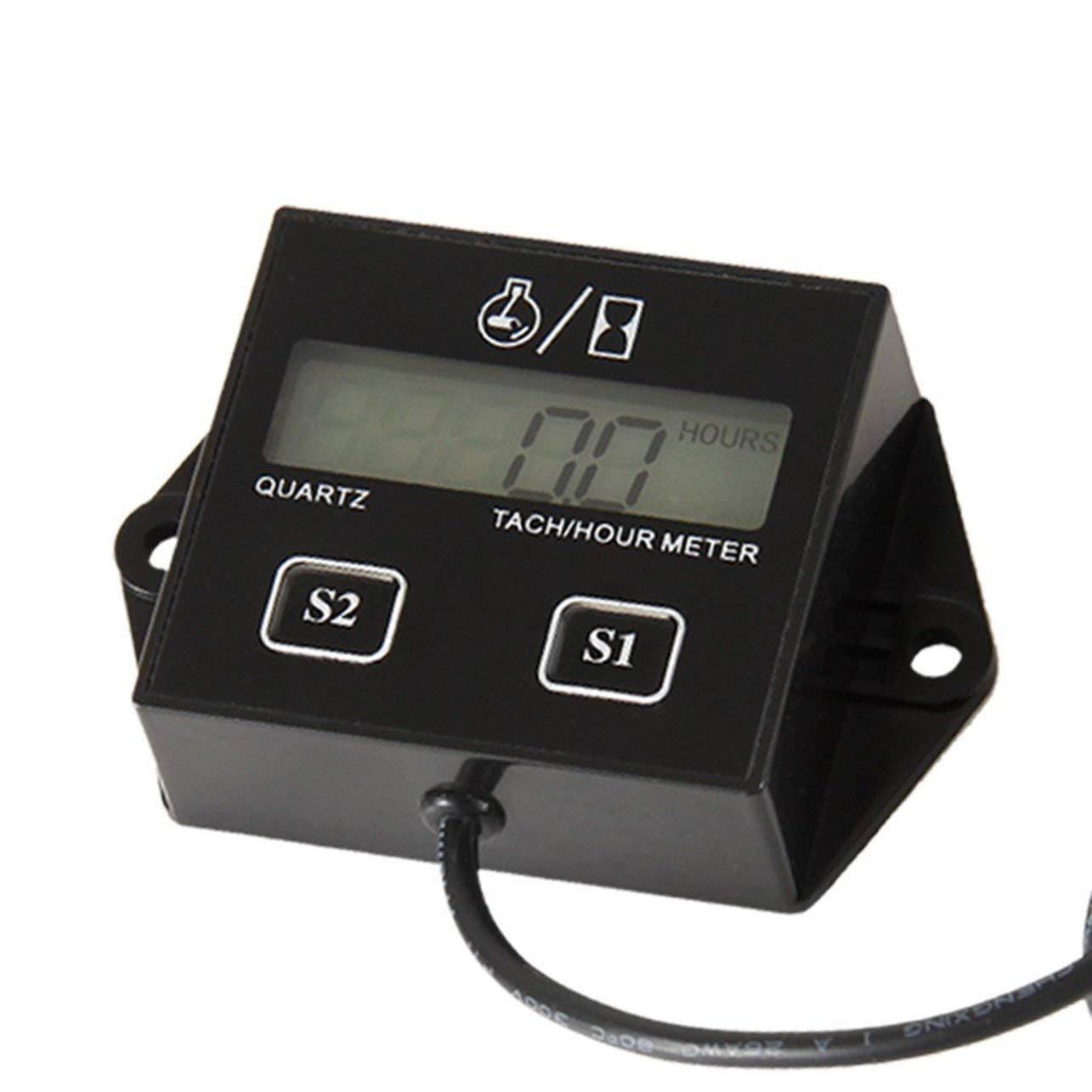 WOSOSYEYO High Performance Auto Digital Motor Tach Tachometer Stundenzä hler Induktive fü r Motorrad Auto Motor Hub Motor