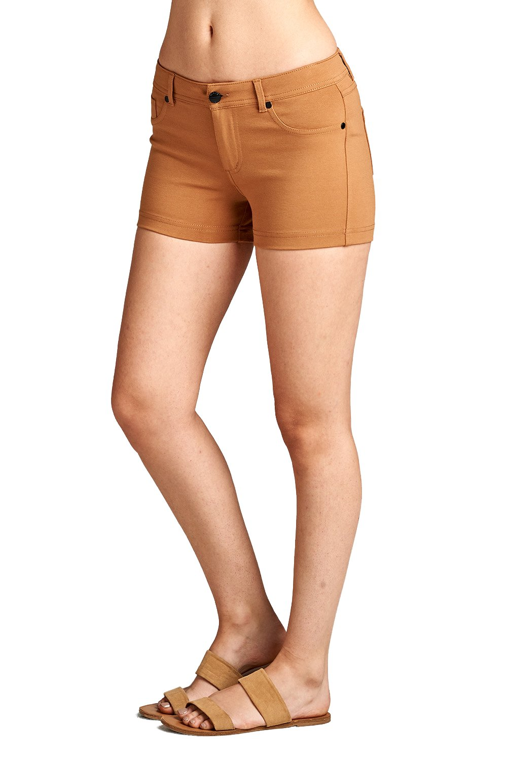 Emmalise Women's Summer Casual Stretchy Shorts-Baked Mustard-L